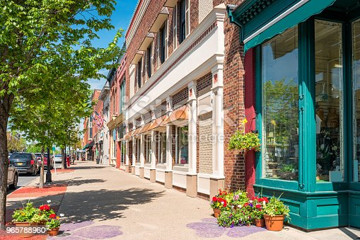 Stock photograph of businesses in downtown Seneca Falls, Finger Lakes region, upstate New York State, USA on a sunny day.