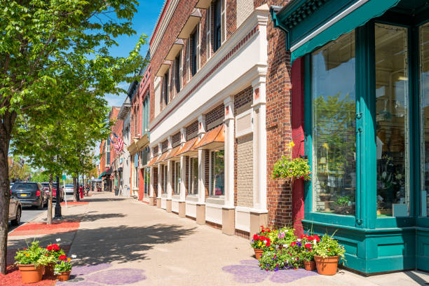 downtown seneca falls finger lakes region new york state usa - store stock pictures, royalty-free photos & images