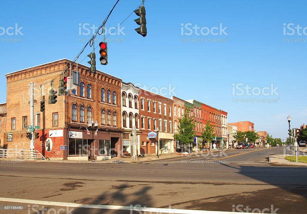 downtown Seneca Falls stock photo