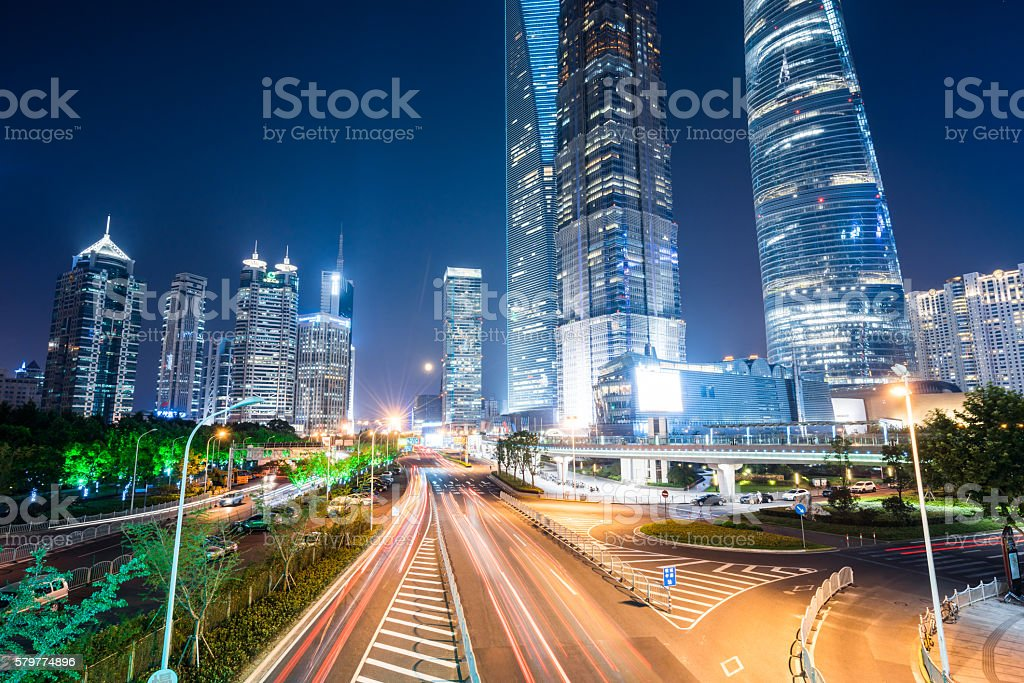 Downtown Shanghai at Night stock photo