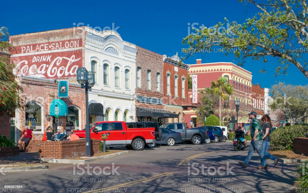 Downtown Shops on Fernandina Beach, Florida stock photo