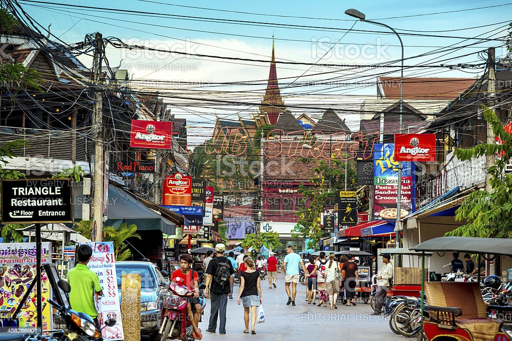 Downtown Siem Reap, Cambodia stock photo