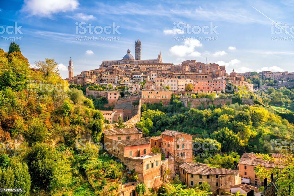 Downtown Siena skyline in Italy stock photo