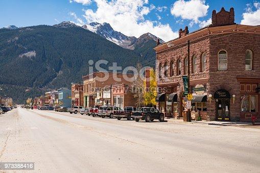 SILVERTON, CO - OCTOBER 5, 2018: Downtown of the historic mining town of Silverton, Colorado
