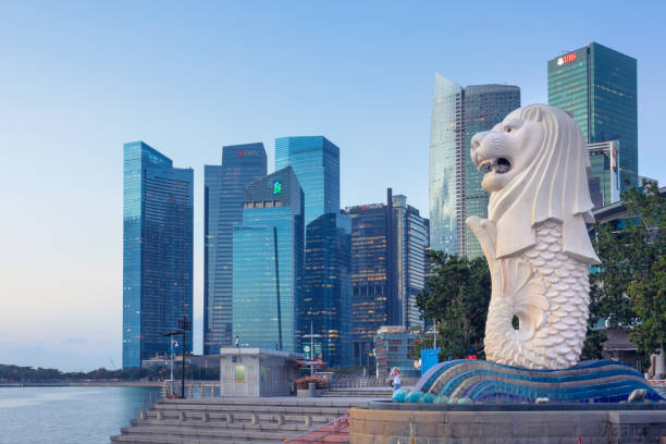 Downtown Singapore View of the merlion statue of Merlion Park, and the financial district in downtown Singapore. The merlion is a symbol and mascot of Singapore. merlion fictional character stock pictures, royalty-free photos & images