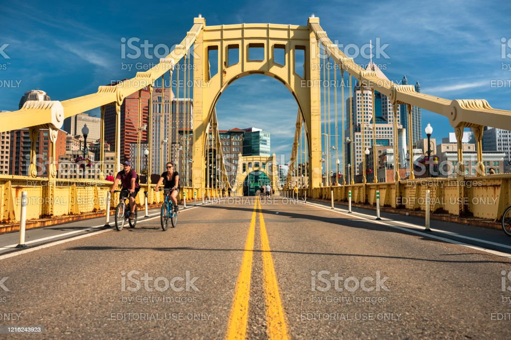 Downtown Skyline And The Roberto Clemente Bridge In Pittsburgh Pennsylvania Usa Stock Photo Download Image Now Istock