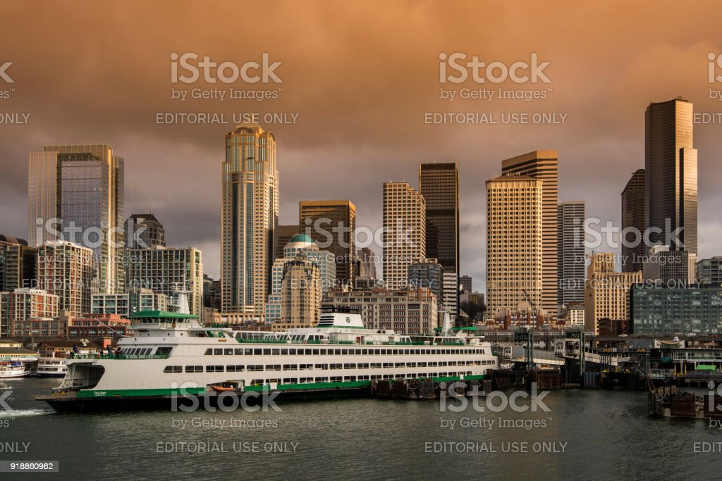 Downtown skyline and waterfront from the sea, Seattle, Washington, USA stock photo