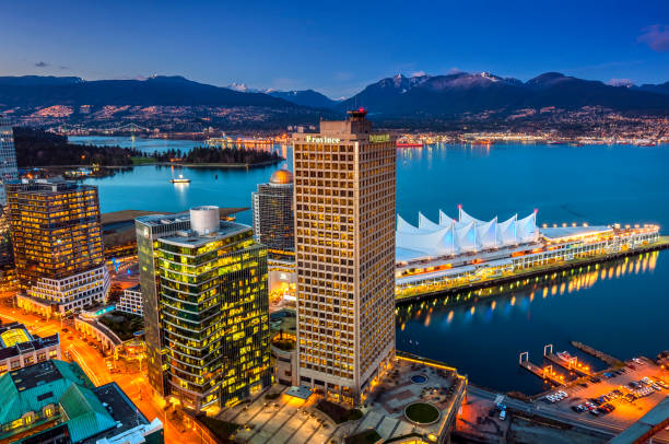 Downtown skyline at dusk, Vancouver, British Columbia, Canada stock photo
