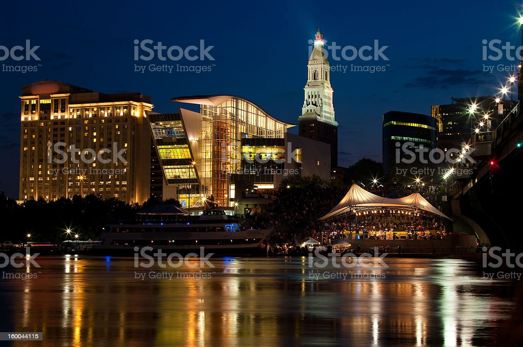 Downtown Skyline at Night stock photo