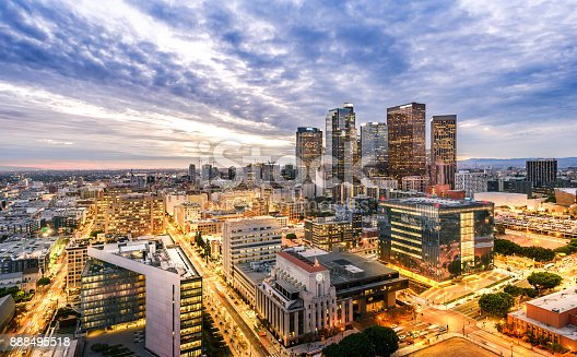 istock Downtown Skyline at Sunset. Los Angeles, California, USA 888495518