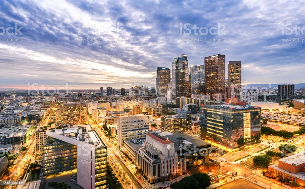 Downtown Skyline at Sunset. Los Angeles, California, USA stock photo