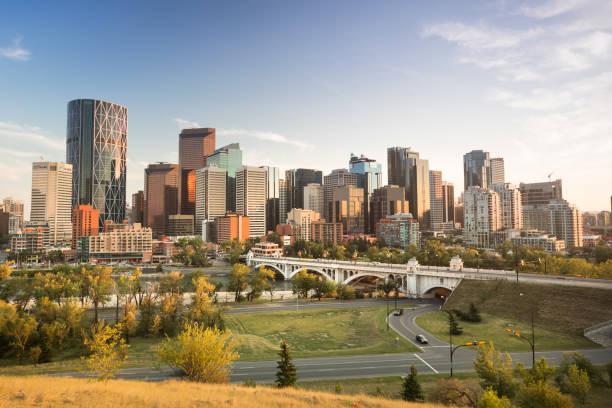 Downtown skyline Calgary Alberta Canada stock photo