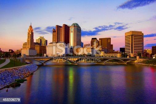 istock Downtown Skyline Columbus Ohio Scioto Mile Rich Street Bridge HDR 453209279