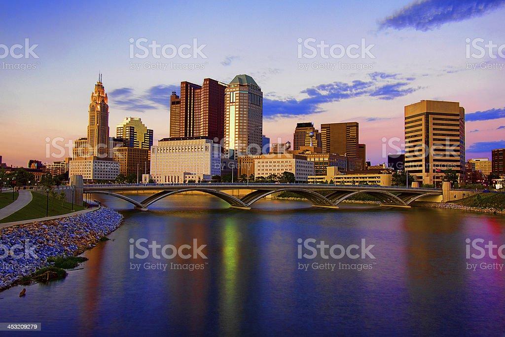 Downtown Skyline Columbus Ohio Scioto Mile Rich Street Bridge HDR stock photo