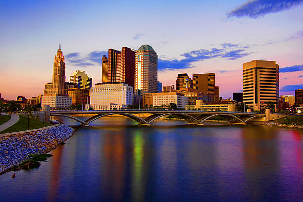 Downtown Skyline Columbus Ohio Scioto Mile Rich Street Bridge HDR stock photo