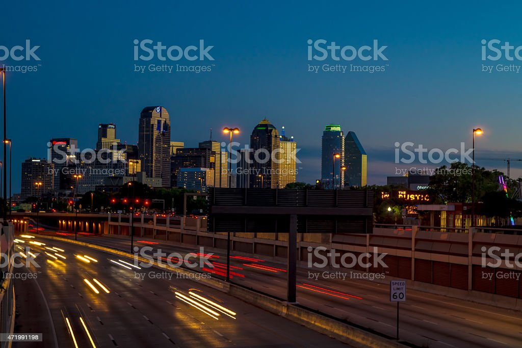 Downtown Skyline Dallas, Texas at sunset stock photo