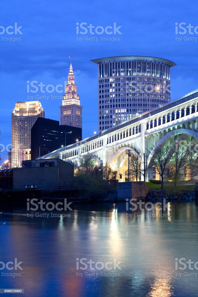 Downtown skyline in Cleveland stock photo