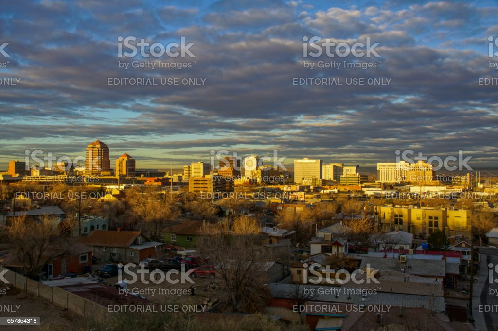 Downtown Skyline of Albuquerque, New Mexico stock photo