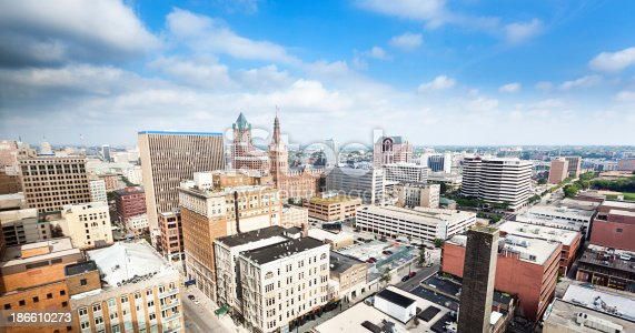 Subject: Skyline of the city of Milwaukee Wisconsin, USA.