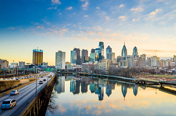 downtown skyline of philadelphia, pennsylvania. - philadelphia skyline stock photos and pictures