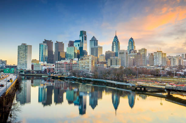Downtown Skyline of Philadelphia, Pennsylvania USA stock photo