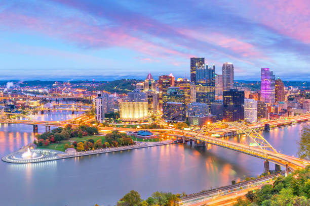 Downtown skyline of Pittsburgh, Pennsylvania at sunset stock photo
