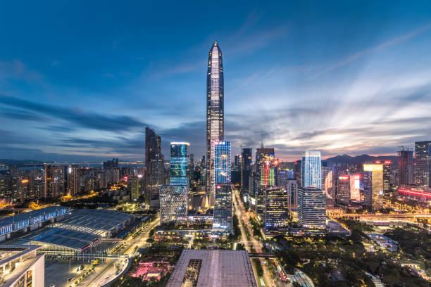 Horizonte del centro de Shenzhen - foto de stock