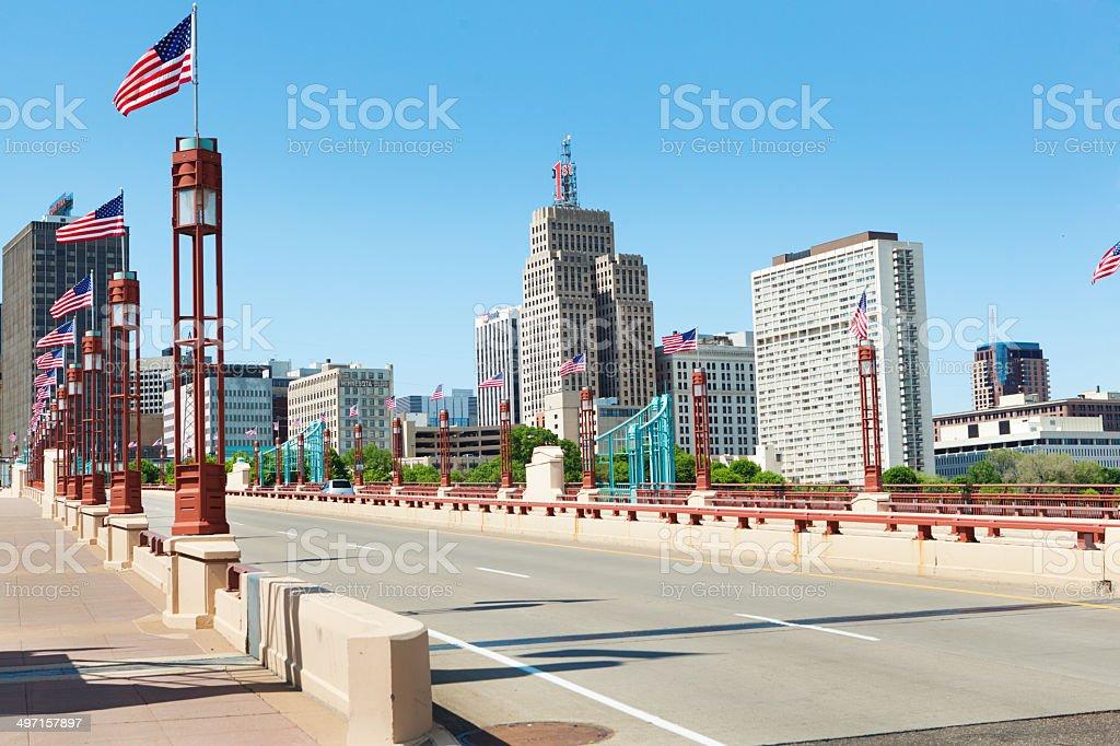 Downtown Skyline of St Paul Minnesota USA stock photo