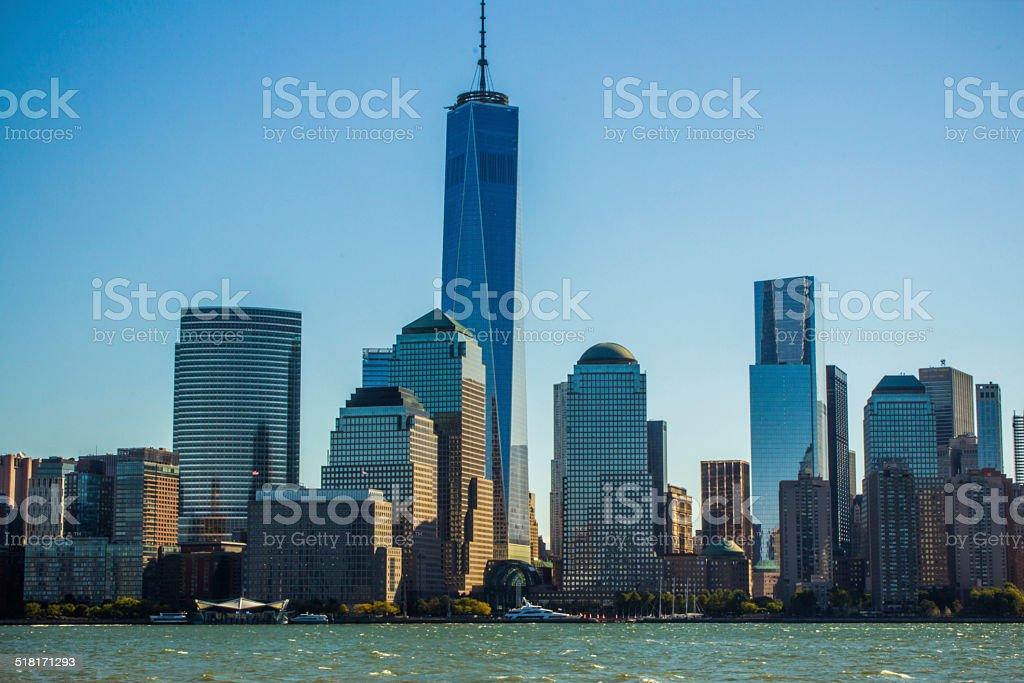 NYC downtown skyline stock photo