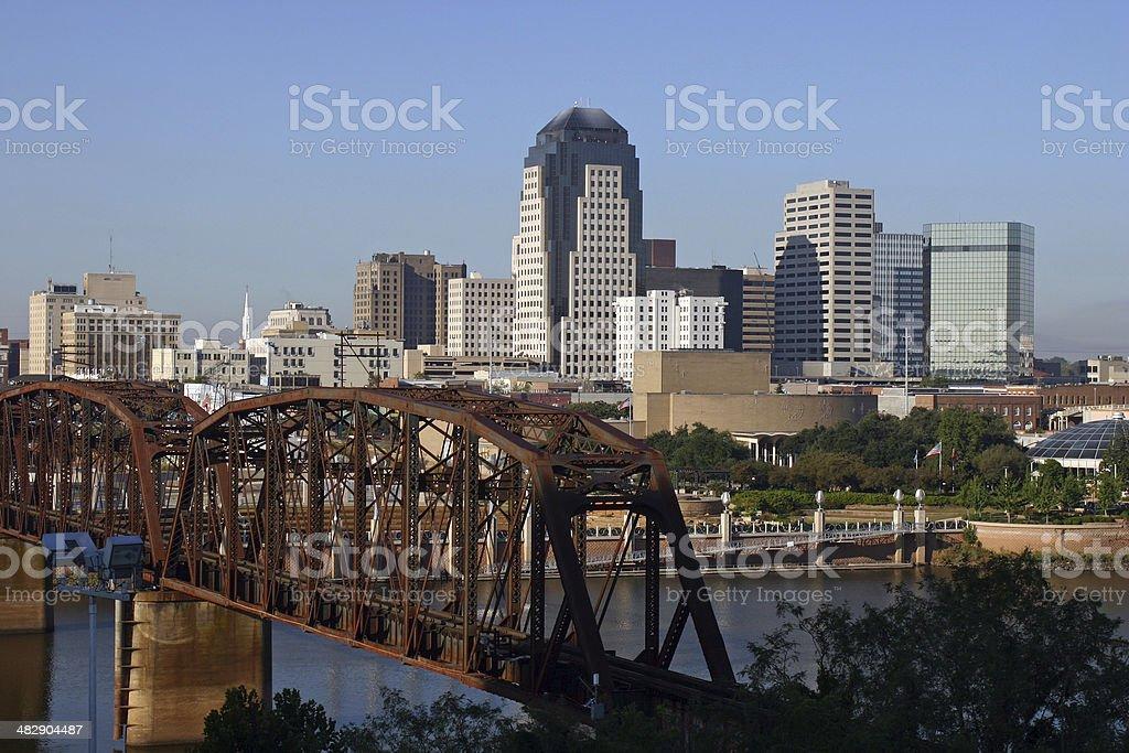 Downtown Skyline Shreveport Louisiana stock photo