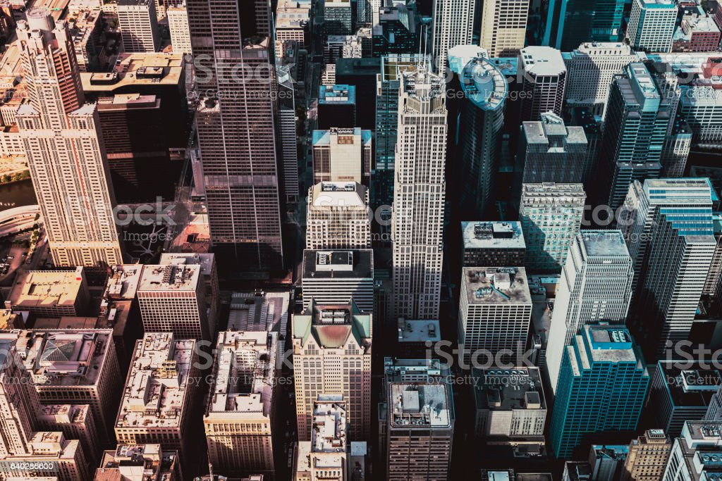 Downtown Skyscrapers aerial view stock photo
