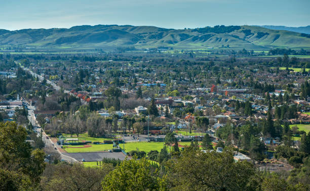 Downtown Sonoma, California from Aerial View The City Center of Sonoma, California unfolds into the Hills as seen from the Sonoma Overlook Trail sonoma stock pictures, royalty-free photos & images