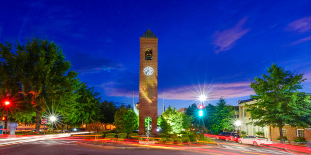 Downtown Spartanburg SC South Carolina Long Exposure of Downtown Spartanburg SC South Carolina at Blue Hour spartanburg stock pictures, royalty-free photos & images