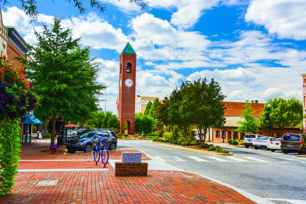 Downtown Spartanburg South Carolina SC Main Street in Downtown Spartanburg South Carolina SC. spartanburg stock pictures, royalty-free photos & images