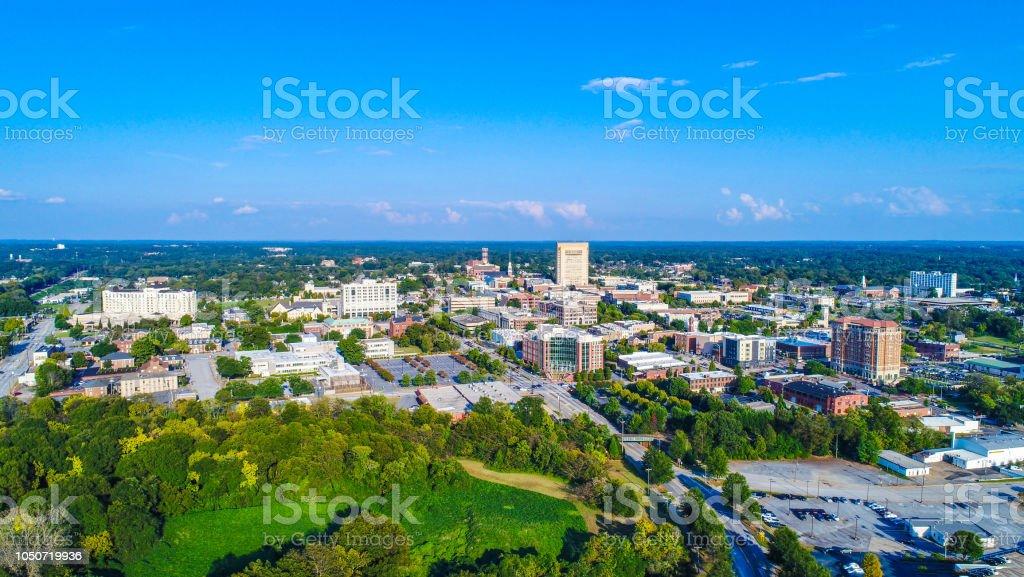 Downtown Spartanburg, South Carolina, USA Skyline stock photo