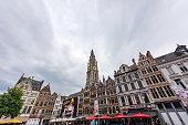 Antwerp City, Belgium - July 01, 2016: Downtown square in Antwerp, Belguim. Antwerp is a city in Belgium and the capital of Antwerp province in the Flemish Region. Antwerp is the most populous city proper in Belgium