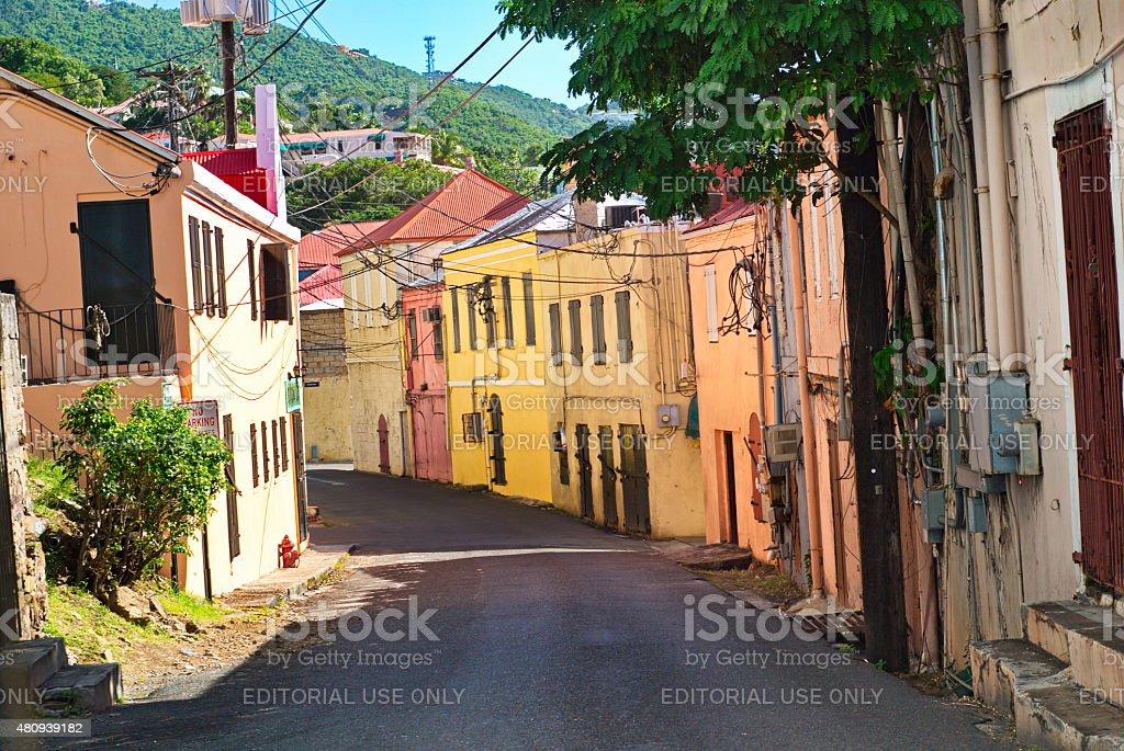Downtown St. Thomas, USVI stock photo