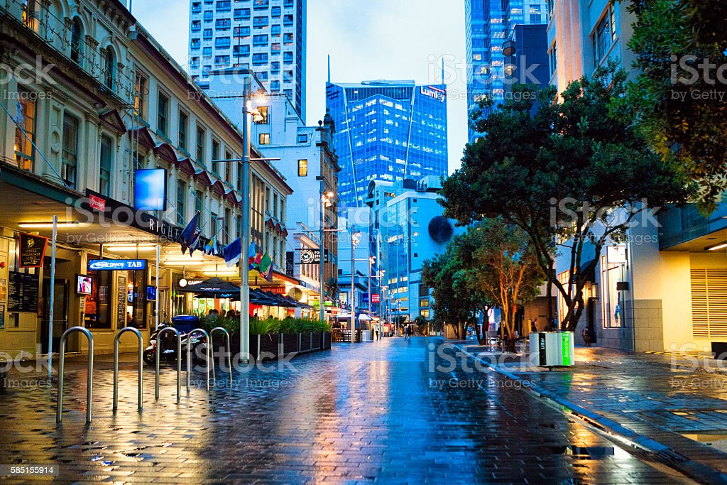 Downtown street in Auckland, New Zealand stock photo