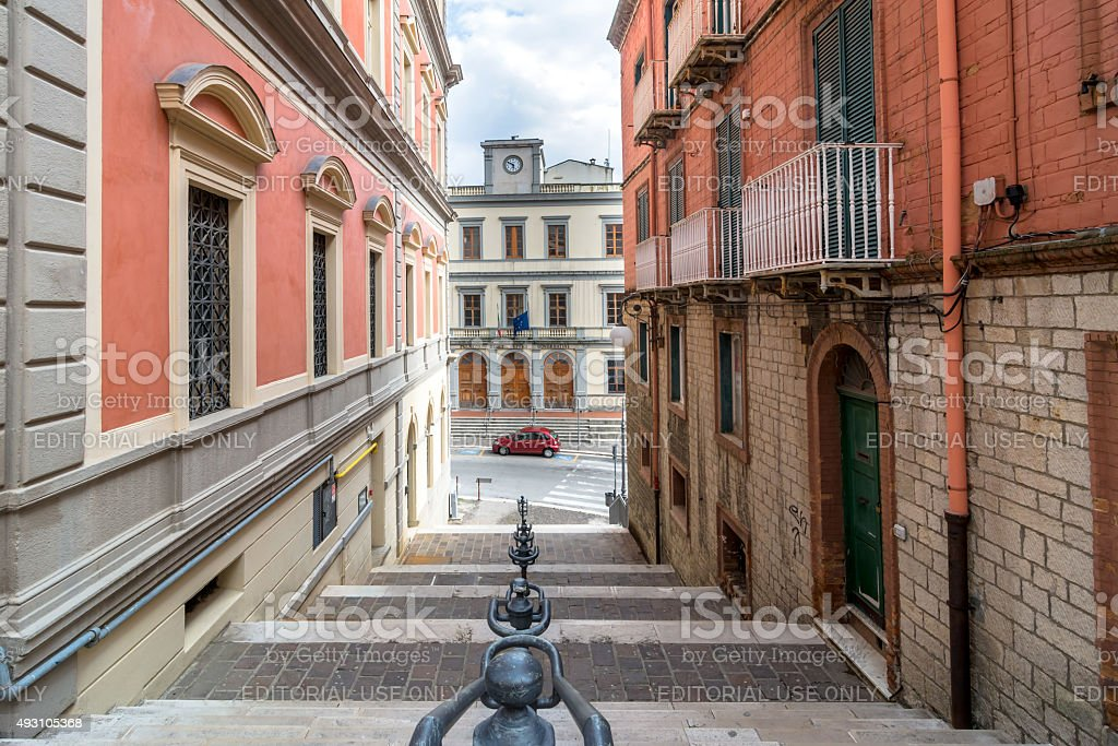 downtown street view in Potenza, Italy stock photo