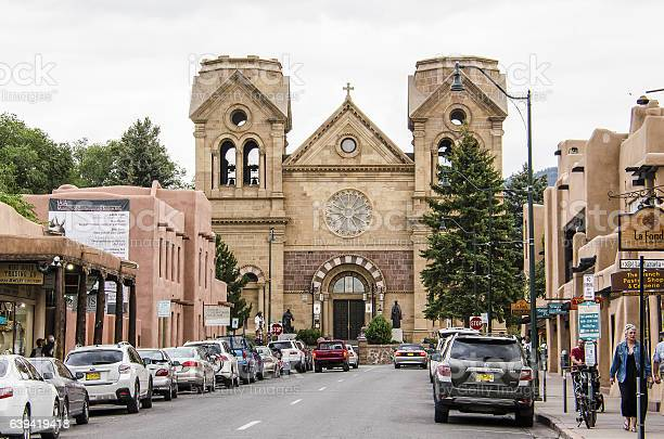 Downtown Street With Cathedral Basilica Of St Francis Of Assisi Stock Photo - Download Image Now