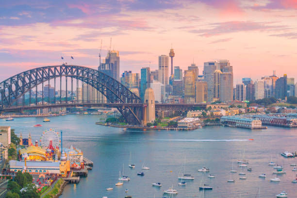Downtown Sydney skyline in Australia stock photo