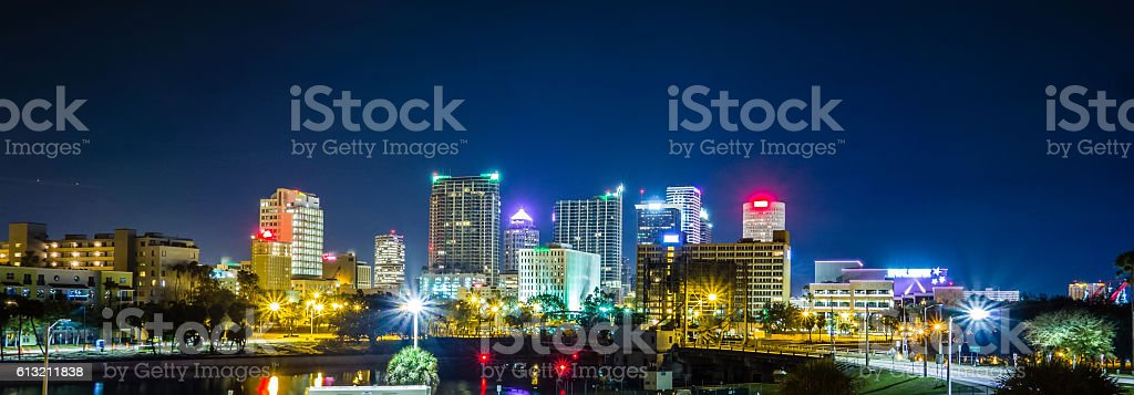 Downtown tampa florida skyline at night stock photo