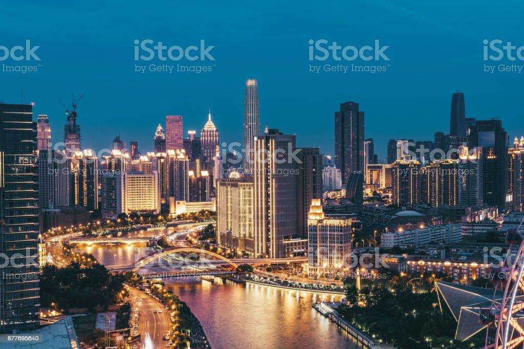 Downtown Tianjin at Night stock photo
