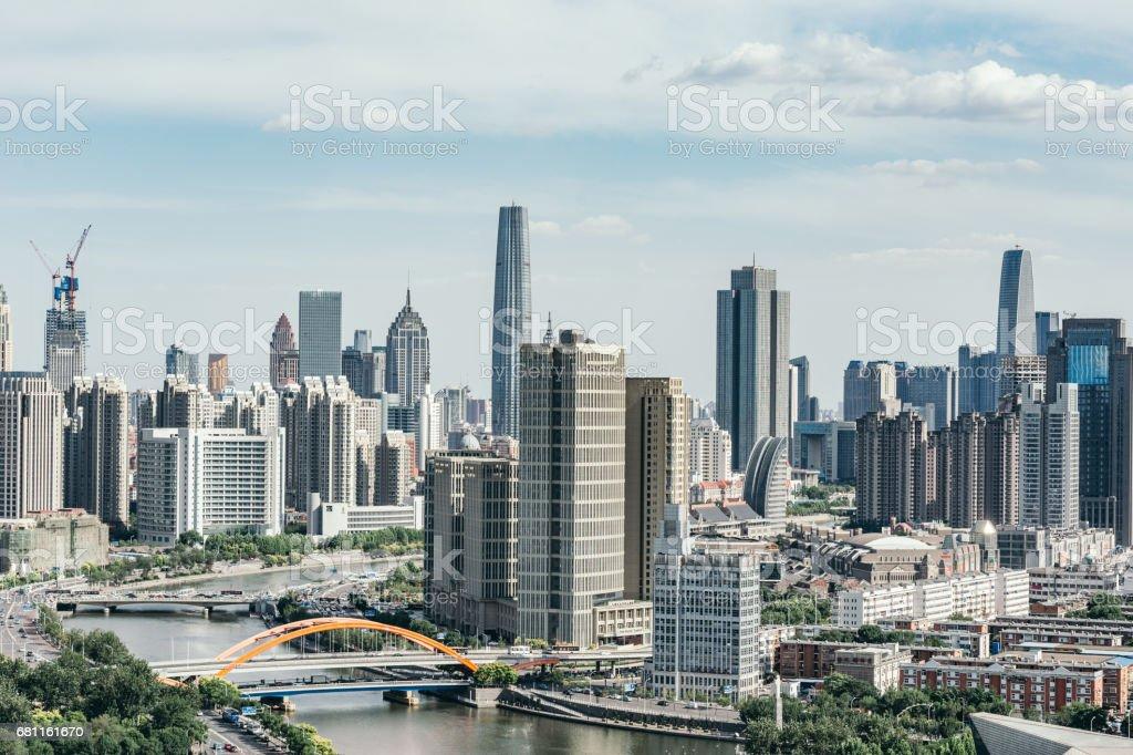 Downtown Tianjin stock photo