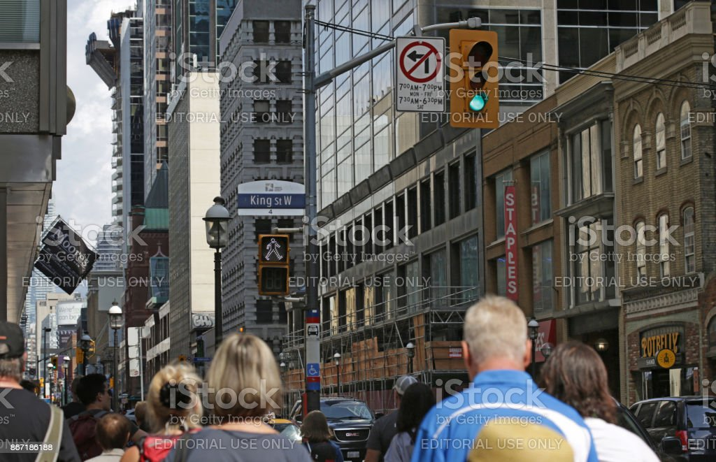 Downtown Toronto at King Street West and Yonge Street in Summer stock photo
