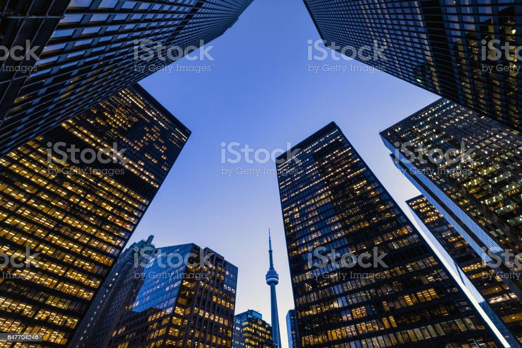 Downtown Toronto financial district skyline stock photo