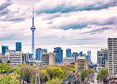istock Downtown Toronto skyline on a cloudy day 1304631486