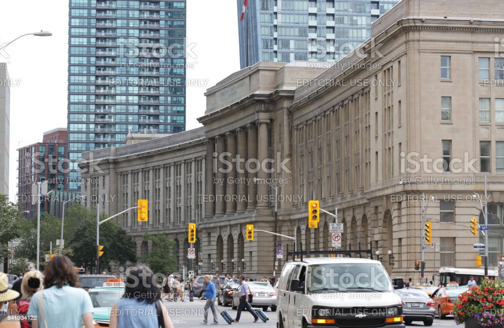 Downtown Toronto Traffic, Front Street West in the South Core Neighbourhood stock photo