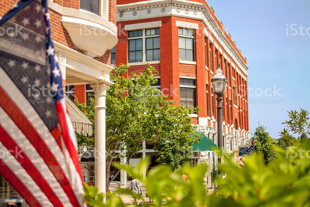 Downtown town square in Fayetteville, Arkansas stock photo