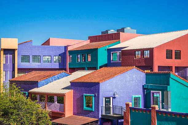 Downtown Tucson Arizona Colorful La Placita Village Multi-Building Complex The La Placita is a multi-building complex located in downtown Tucson, Arizona. It serves many purposes such as housing and even retail. tucson stock pictures, royalty-free photos & images